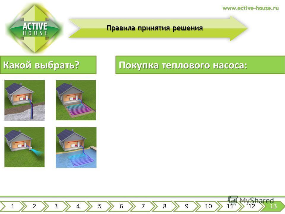 www.active-house.ru Правила принятия решения Какой выбрать? Покупка теплового насоса: 12345678910111213 расчет теплопотерь дома и подбор мощностей выбор типа теплового насоса исходя из территории проектирование всей системы заказ оборудования