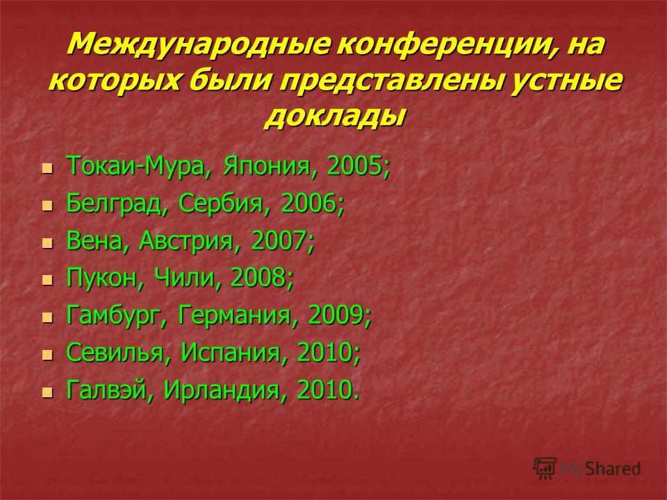 Международные конференции, на которых были представлены устные доклады Токаи-Мура, Япония, 2005; Токаи-Мура, Япония, 2005; Белград, Сербия, 2006; Белград, Сербия, 2006; Вена, Австрия, 2007; Вена, Австрия, 2007; Пукон, Чили, 2008; Пукон, Чили, 2008; Г