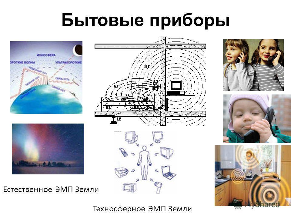 Бытовые приборы Естественное ЭМП Земли Техносферное ЭМП Земли