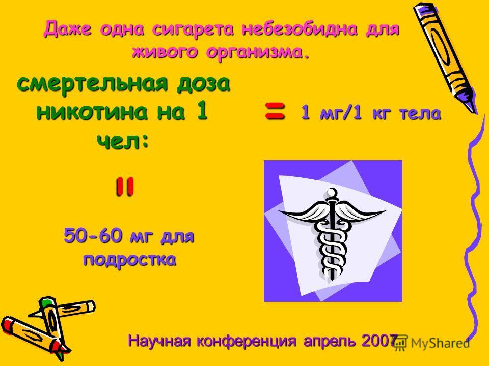 смертельная доза никотина на 1 чел: = 1 мг/1 кг тела = 50-60 мг для подростка Даже одна сигарета небезобидна для живого организма. Научная конференция апрель 2007