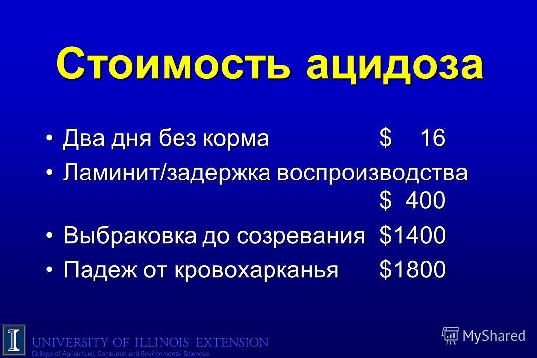 Стоимость ацидоза Два дня без корма$ 16Два дня без корма$ 16 Ламинит/задержка воспроизводства $ 400Ламинит/задержка воспроизводства $ 400 Выбраковка до созревания$1400Выбраковка до созревания$1400 Падеж от кровохарканья $1800Падеж от кровохарканья $1