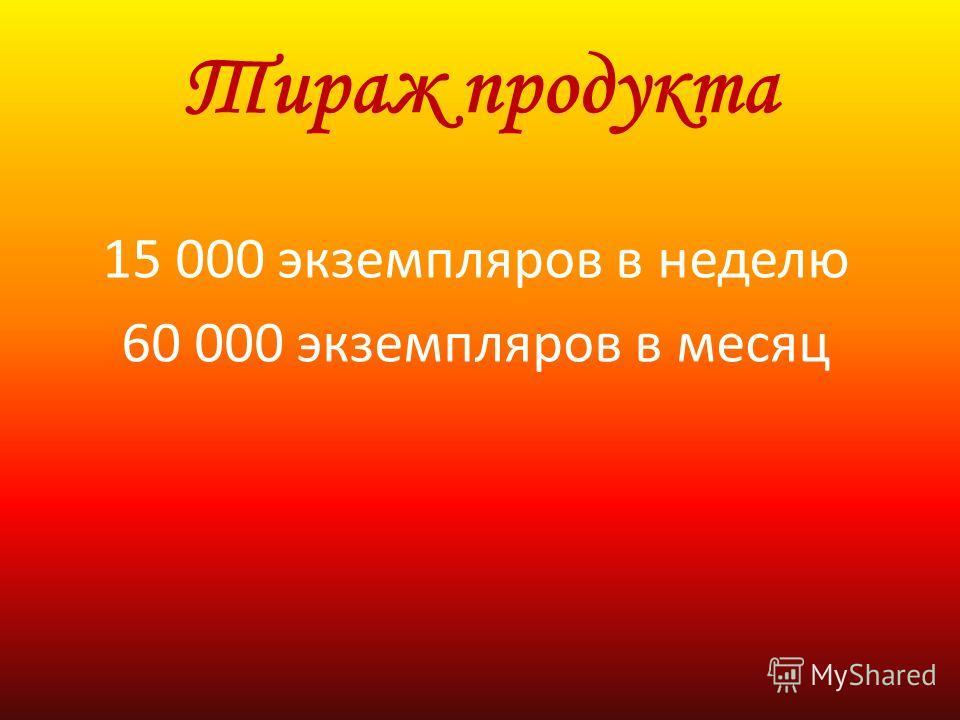 Тираж продукта 15 000 экземпляров в неделю 60 000 экземпляров в месяц