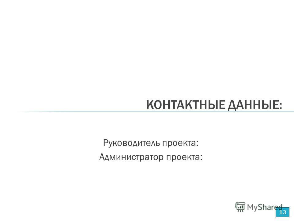 Руководитель проекта: Администратор проекта: КОНТАКТНЫЕ ДАННЫЕ: 13