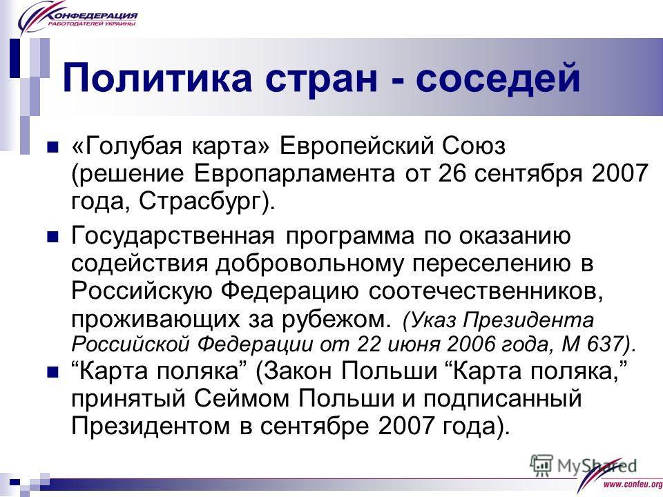 Политика стран - соседей «Голубая карта» Европейский Союз (решение Европарламента от 26 сентября 2007 года, Страсбург). Государственная программа по оказанию содействия добровольному переселению в Российскую Федерацию соотечественников, проживающих з