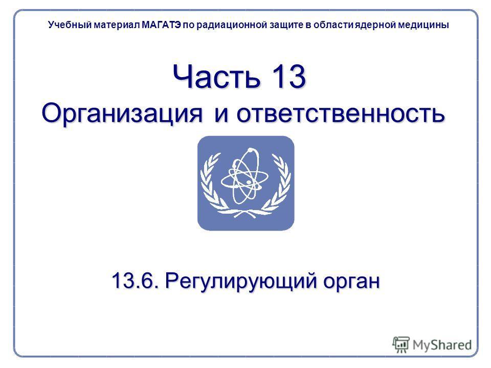 13.6. Регулирующий орган Часть 13 Организация и ответственность Учебный материал МАГАТЭ по радиационной защите в области ядерной медицины