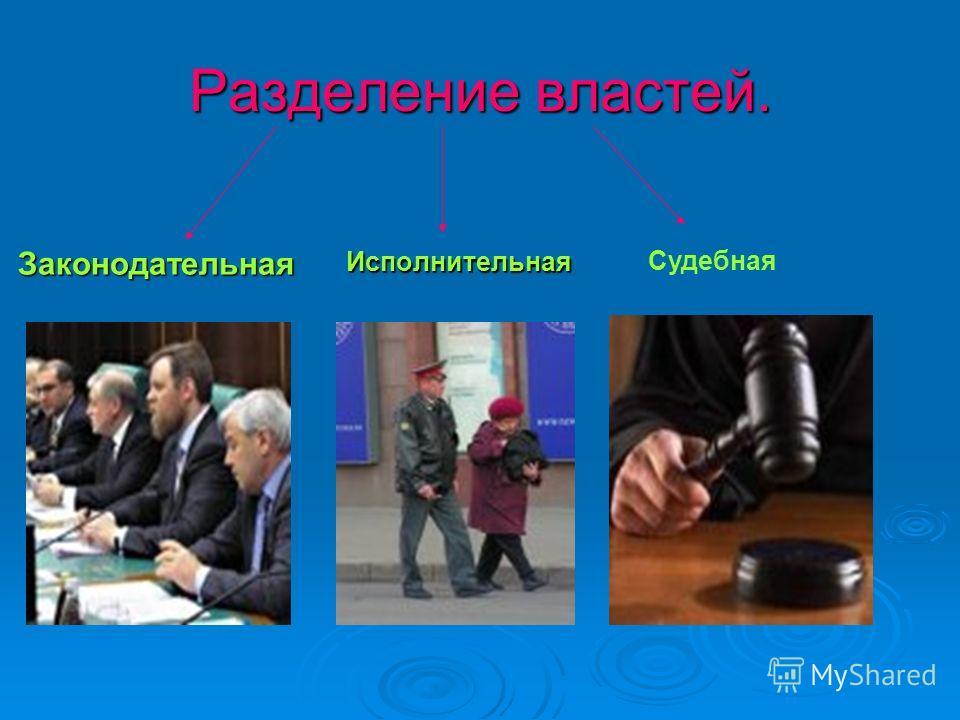 Разделение властей. ЗаконодательнаяИсполнительная Судебная