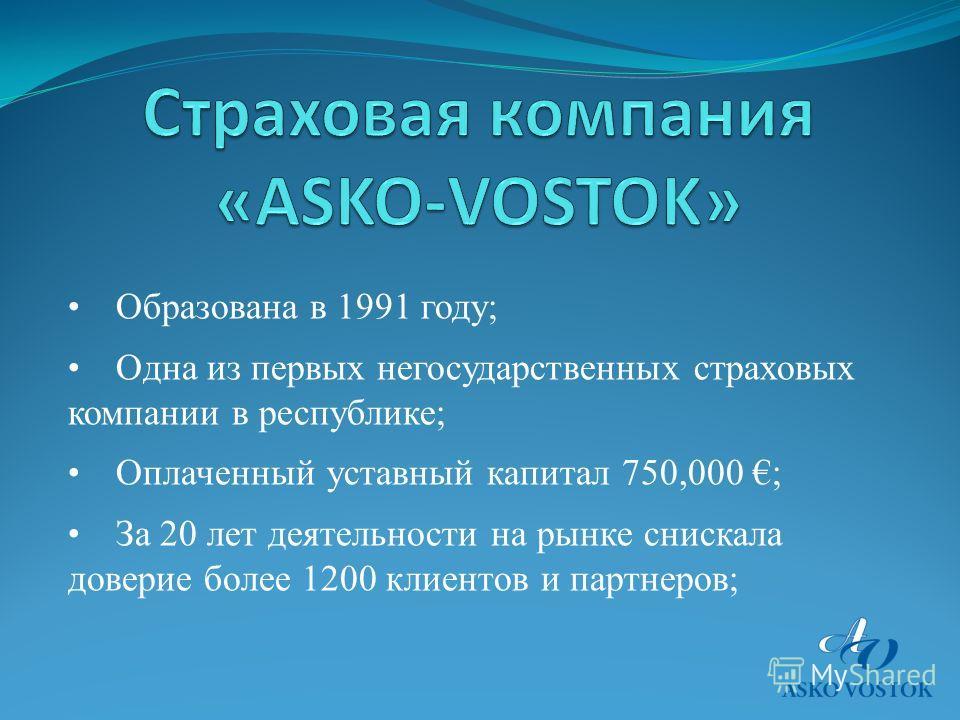 Образована в 1991 году; Одна из первых негосударственных страховых компании в республике; Оплаченный уставный капитал 750,000 ; За 20 лет деятельности на рынке снискала доверие более 1200 клиентов и партнеров;