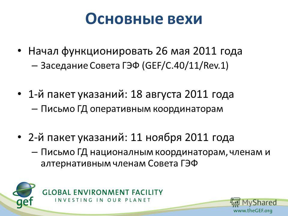 Основные вехи Начал функционировать 26 мая 2011 года – Заседание Совета ГЭФ (GEF/C.40/11/Rev.1) 1-й пакет указаний: 18 августа 2011 года – Письмо ГД оперативным координаторам 2-й пакет указаний: 11 ноября 2011 года – Письмо ГД националным координатор