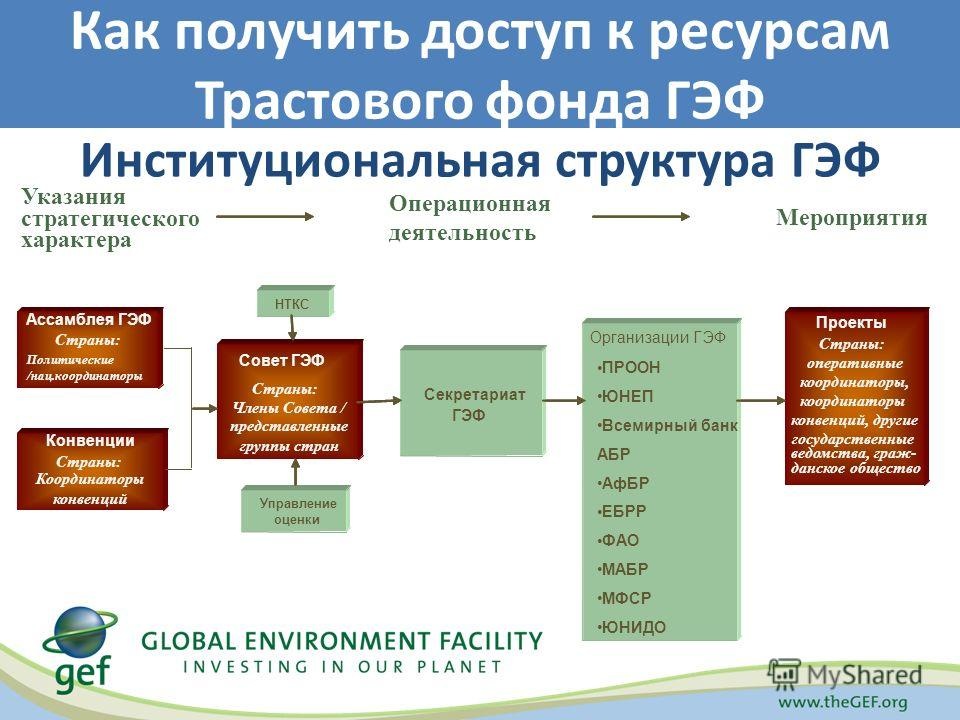 Институциональная структура ГЭФ Как получить доступ к ресурсам Трастового фонда ГЭФ