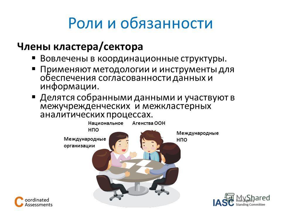 Роли и обязанности Члены кластера/сектора Вовлечены в координационные структуры. Применяют методологии и инструменты для обеспечения согласованности данных и информации. Делятся собранными данными и участвуют в межучрежденческих и межкластерных анали