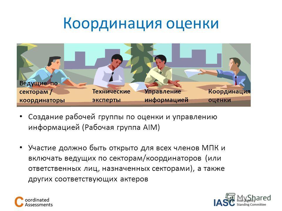 Координация оценки Создание рабочей группы по оценки и управлению информацией (Рабочая группа AIM) Участие должно быть открыто для всех членов МПК и включать ведущих по секторам/координаторов (или ответственных лиц, назначенных секторами), а также др