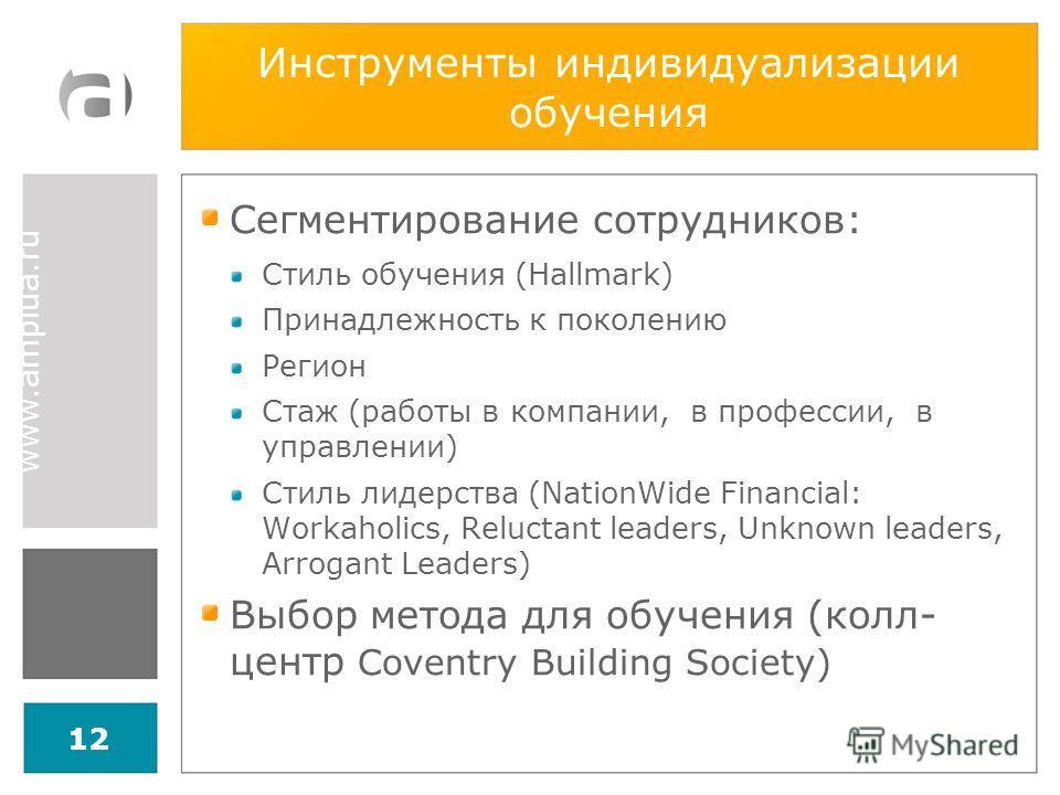 www.amplua.ru Инструменты индивидуализации обучения Сегментирование сотрудников: Стиль обучения (Hallmark) Принадлежность к поколению Регион Стаж (работы в компании, в профессии, в управлении) Стиль лидерства (NationWide Financial: Workaholics, Reluc