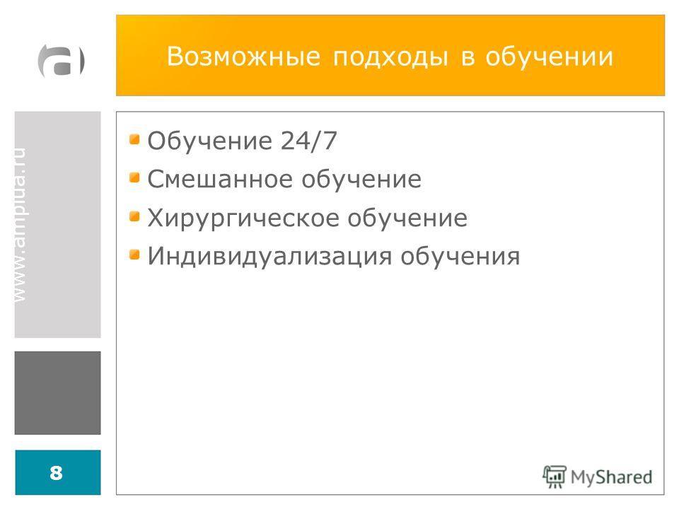 www.amplua.ru Возможные подходы в обучении Обучение 24/7 Смешанное обучение Хирургическое обучение Индивидуализация обучения 8