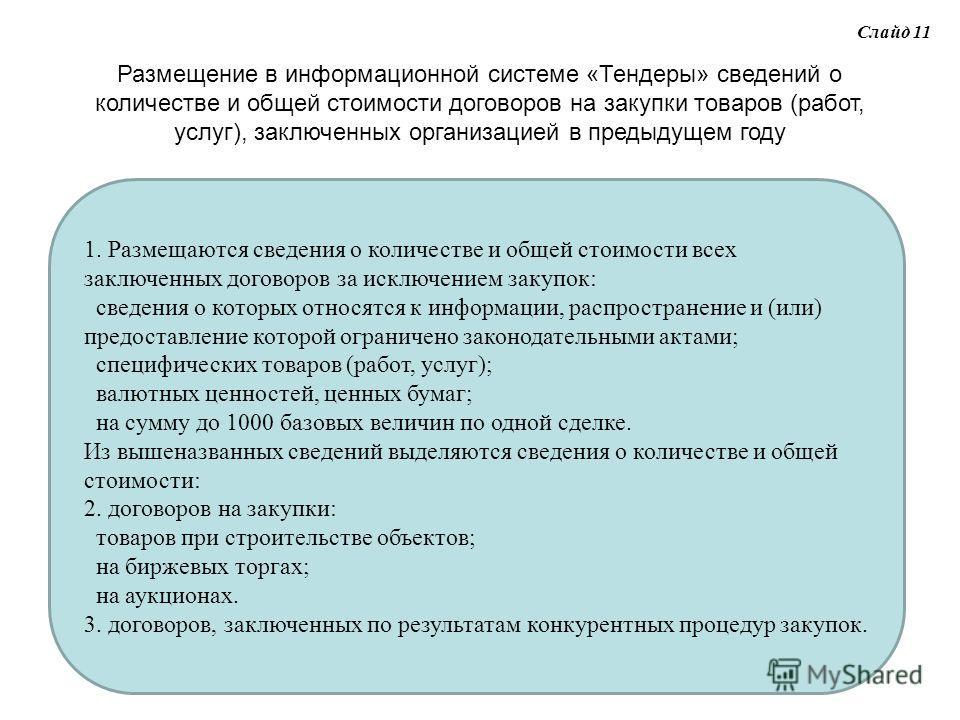 Слайд 11 Размещение в информационной системе «Тендеры» сведений о количестве и общей стоимости договоров на закупки товаров (работ, услуг), заключенных организацией в предыдущем году 1. Размещаются сведения о количестве и общей стоимости всех заключе