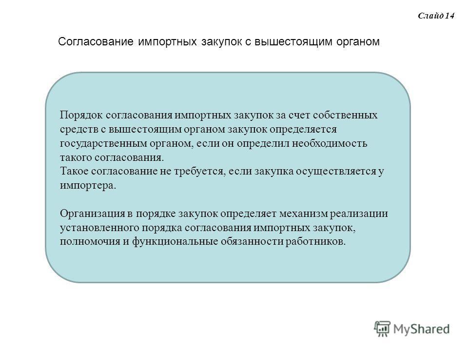 Слайд 14 Согласование импортных закупок с вышестоящим органом Порядок согласования импортных закупок за счет собственных средств с вышестоящим органом закупок определяется государственным органом, если он определил необходимость такого согласования.