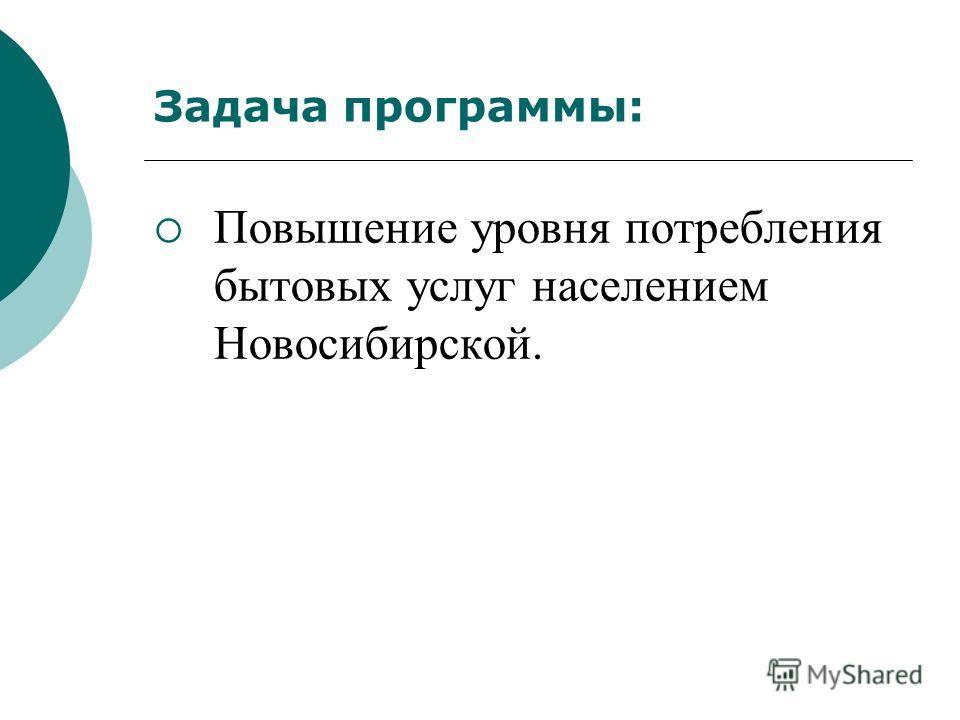 Задача программы: Повышение уровня потребления бытовых услуг населением Новосибирской.