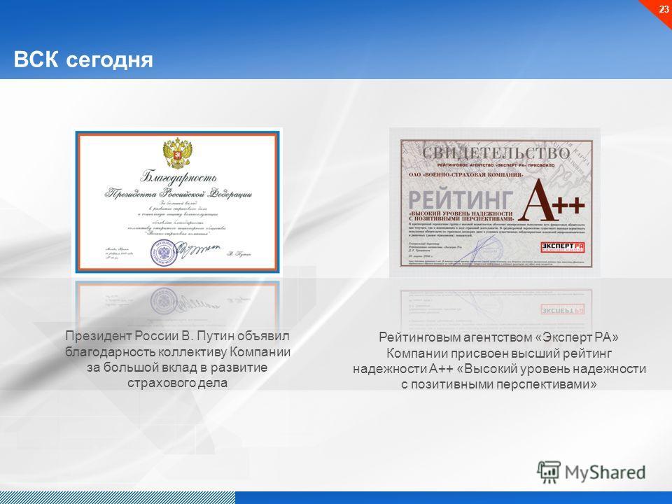ВСК сегодня Президент России В. Путин объявил благодарность коллективу Компании за большой вклад в развитие страхового дела Рейтинговым агентством «Эксперт РА» Компании присвоен высший рейтинг надежности А++ «Высокий уровень надежности с позитивными