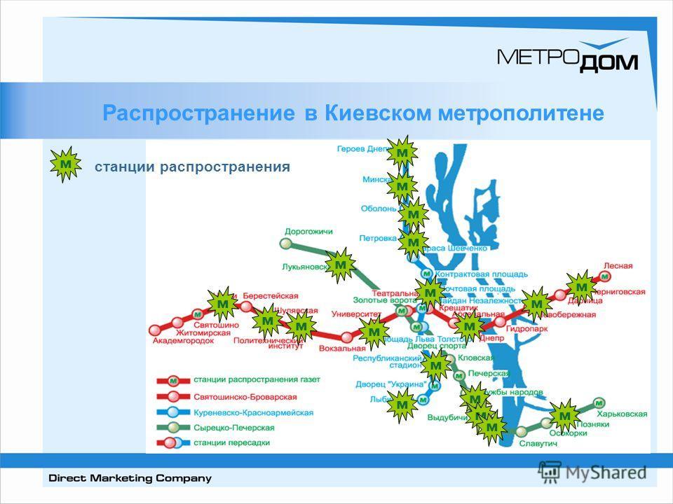Распространение в Киевском метрополитене м м м м м м м м м м м мм м м м м м м м станции распространения