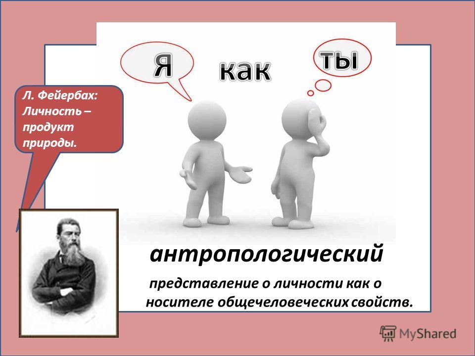 антропологический представление о личности как о носителе общечеловеческих свойств. Л. Фейербах: Личность – продукт природы.