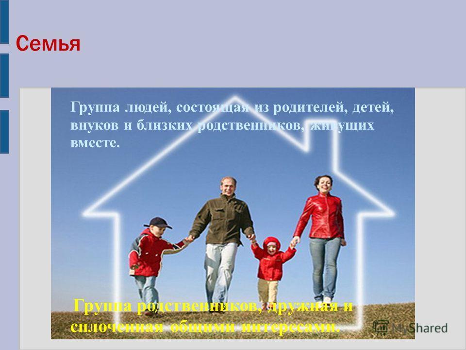 Семья Группа людей, состоящая из родителей, детей, внуков и близких родственников, живущих вместе. Группа родственников, дружная и сплоченная общими интересами.