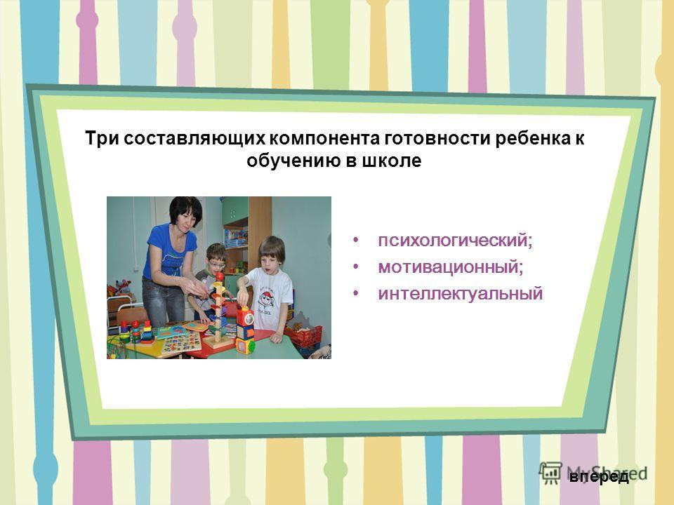 Три составляющих компонента готовности ребенка к обучению в школе психологический; мотивационный; интеллектуальный