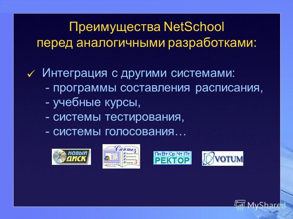 Преимущества NetSchool перед аналогичными разработками: Интеграция с другими системами: - программы составления расписания, - учебные курсы, - системы тестирования, - системы голосования…