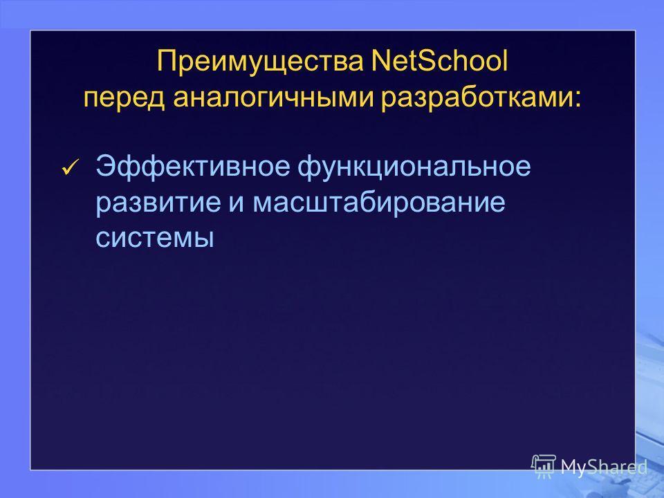 Преимущества NetSchool перед аналогичными разработками: Эффективное функциональное развитие и масштабирование системы