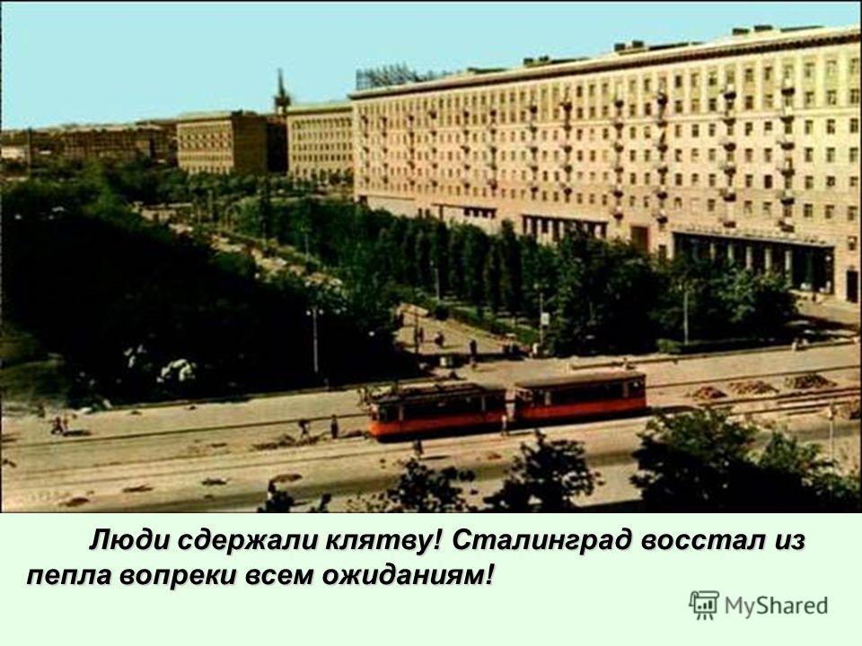 Люди сдержали клятву! Сталинград восстал из пепла вопреки всем ожиданиям! Люди сдержали клятву! Сталинград восстал из пепла вопреки всем ожиданиям!