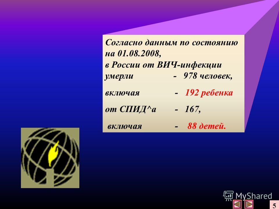 Согласно данным по состоянию на 01.08.2008, в России от ВИЧ-инфекции умерли - 978 человек, включая - 192 ребенка от СПИД^а - 167, включая - 88 детей. 5