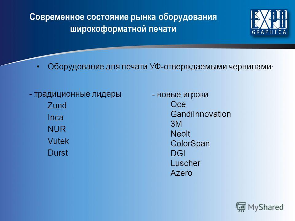 - традиционные лидеры Zund Inca NUR Vutek Durst Современное состояние рынка оборудования широкоформатной печати - новые игроки Oce GandiInnovation 3M Neolt ColorSpan DGI Luscher Azero Оборудование для печати УФ-отверждаемыми чернилами :