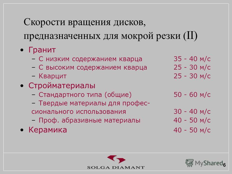 6 Гранит –С низким содержанием кварца 35 - 40 м/с –С высоким содержанием кварца 25 - 30 м/с –Кварцит25 - 30 м/с Стройматериалы –Стандартного типа (общие)50 - 60 м/с –Твердые материалы для профес- сионального использования30 - 40 м/с –Проф. абразивные