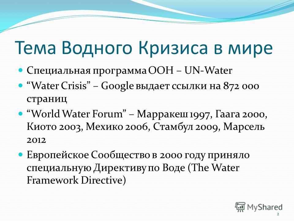 Тема Водного Кризиса в мире Специальная программа ООН – UN-Water Water Crisis – Google выдает ссылки на 872 000 страниц World Water Forum – Марракеш 1997, Гаага 2000, Киото 2003, Мехико 2006, Стамбул 2009, Марсель 2012 Европейское Сообщество в 2000 г