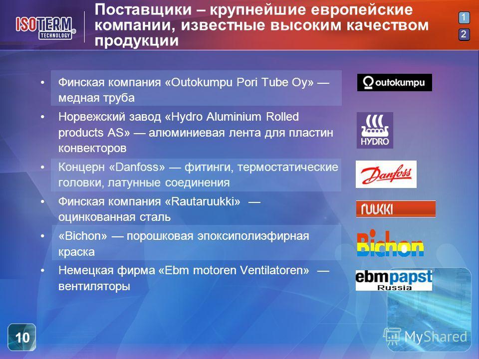 2 1 2 10 Поставщики – крупнейшие европейские компании, известные высоким качеством продукции Финская компания «Outokumpu Pori Tube Oy» медная труба Норвежский завод «Hydro Aluminium Rolled products AS» алюминиевая лента для пластин конвекторов Концер