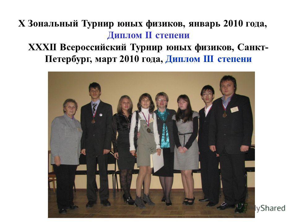 X Зональный Турнир юных физиков, январь 2010 года, Диплом II степени XXXII Всероссийский Турнир юных физиков, Санкт- Петербург, март 2010 года, Диплом III степени