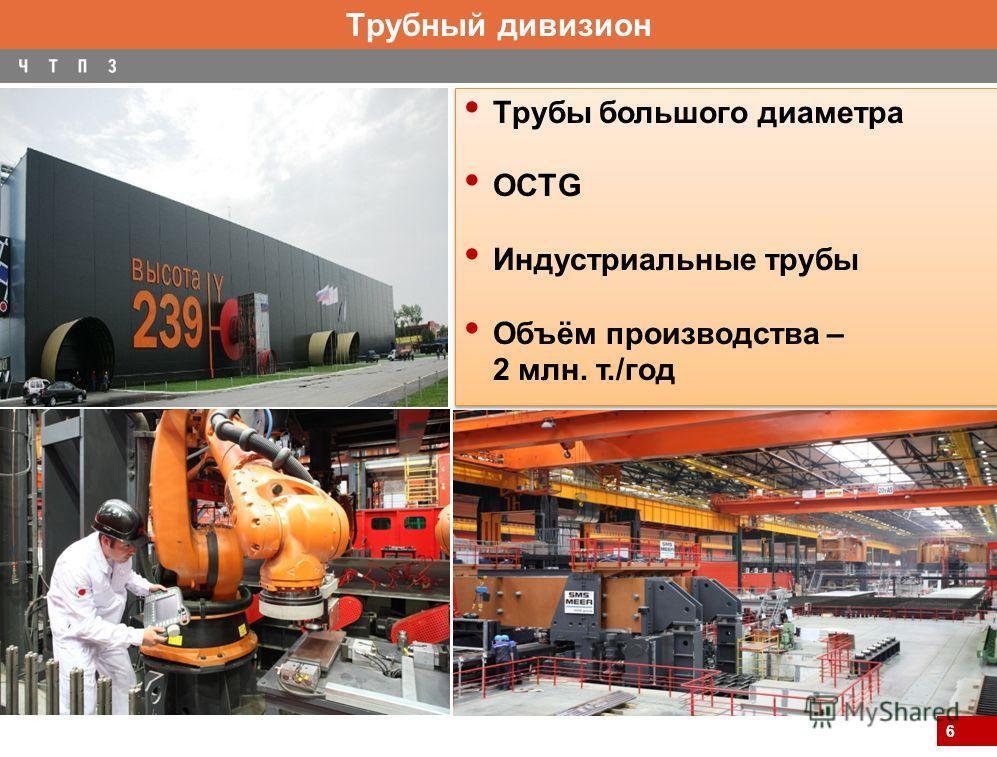 6 Трубный дивизион Трубы большого диаметра OCTG Индустриальные трубы Объём производства – 2 млн. т./год Трубы большого диаметра OCTG Индустриальные трубы Объём производства – 2 млн. т./год