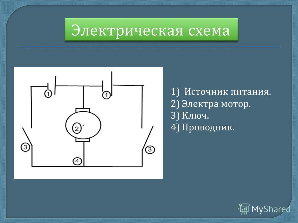 Электрическая схема 1) Источник питания. 2)Электра мотор. 3)Ключ. 4)Проводник.
