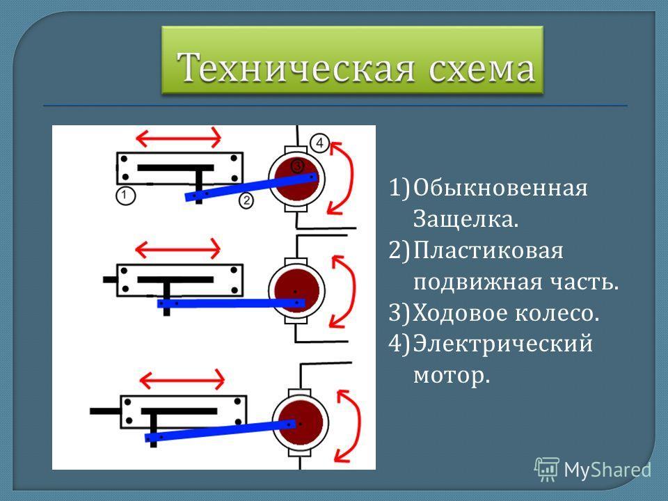 1)Обыкновенная Защелка. 2)Пластиковая подвижная часть. 3)Ходовое колесо. 4)Электрический мотор.