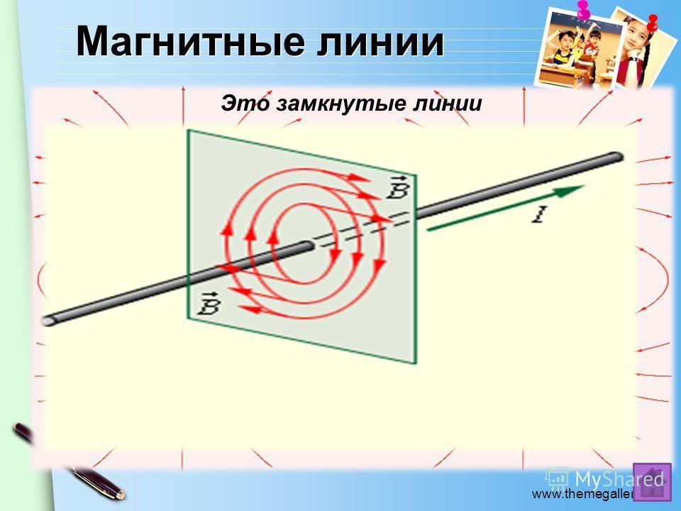 www.themegallery.com Магнитные линии Криволинейные Прямолинейные Это воображаемые линии, вдоль которых расположились бы маленькие магнитные стрелки, помещенные в магнитное поле. Это замкнутые линии