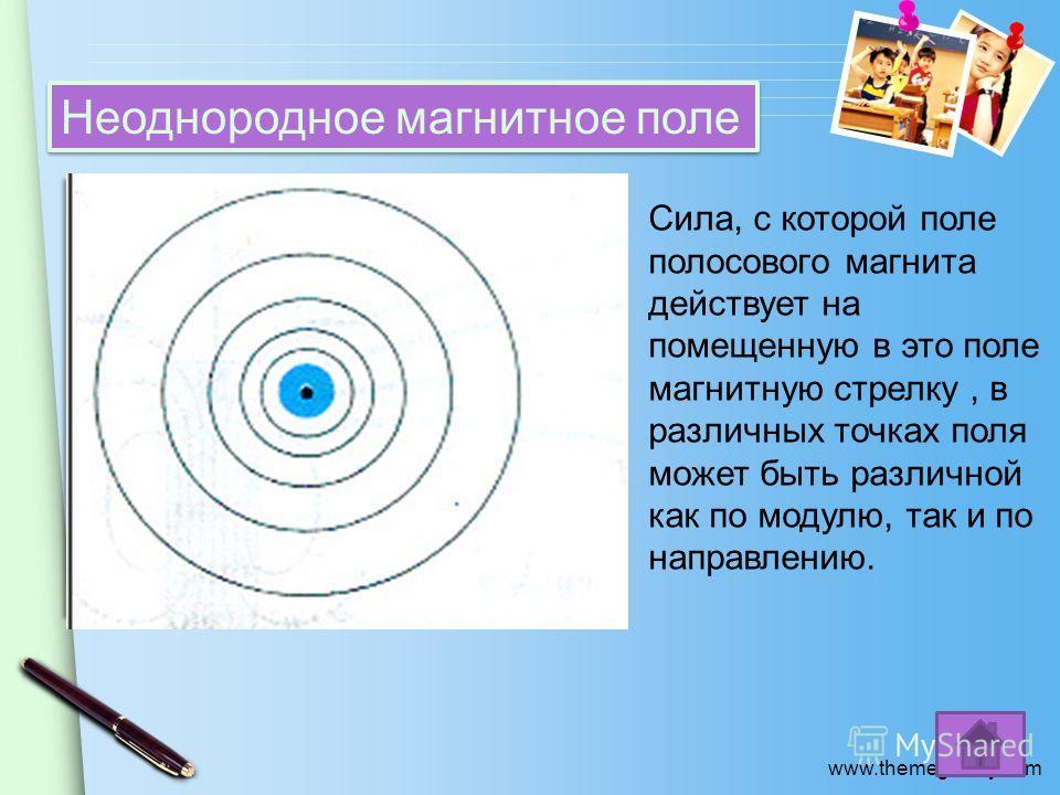 www.themegallery.com Неоднородное магнитное поле Сила, с которой поле полосового магнита действует на помещенную в это поле магнитную стрелку, в различных точках поля может быть различной как по модулю, так и по направлению.