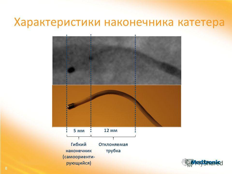 8 Характеристики наконечника катетера Гибкий наконечник (самоориенти- рующийся) 5 мм 12 мм Отклоняемая трубка