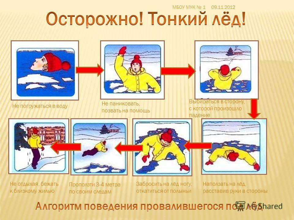 Не паниковать, позвать на помощь Не погружаться в воду Выбираться в сторону, с которой произошло падение Наползать на лёд, расставив руки в стороны Забросить на лёд ногу, откатиться от полыньи Проползти 3-4 метра по своим следам Не отдыхая, бежать к