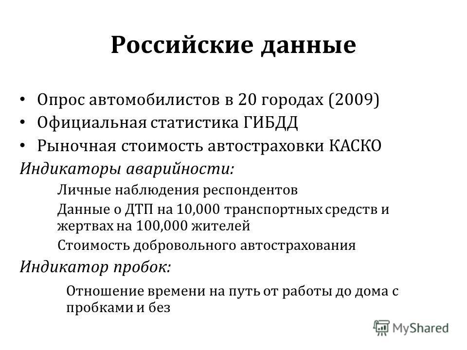 Российские данные Опрос автомобилистов в 20 городах (2009) Официальная статистика ГИБДД Рыночная стоимость автостраховки КАСКО Индикаторы аварийности: Личные наблюдения респондентов Данные о ДТП на 10,000 транспортных средств и жертвах на 100,000 жит