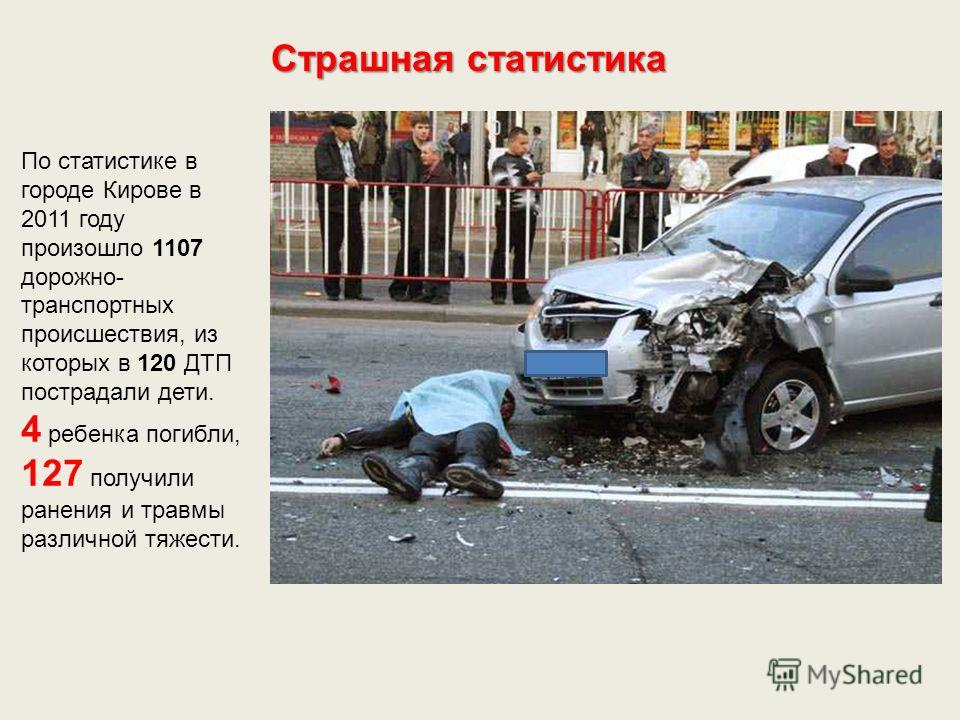 Страшная статистика По статистике в городе Кирове в 2011 году произошло 1107 дорожно- транспортных происшествия, из которых в 120 ДТП пострадали дети. 4 ребенка погибли, 127 получили ранения и травмы различной тяжести.