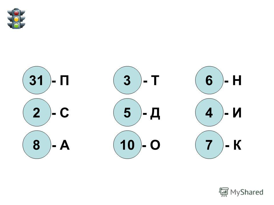 31 - П 2 - С 8 - А 3 - Т 5 - Д 10 - О 6 - Н 4 - И 7 - К