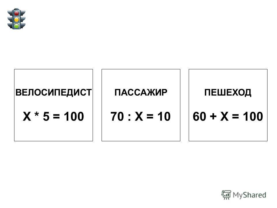 ВЕЛОСИПЕДИСТ Х * 5 = 100 ПАССАЖИР 70 : Х = 10 ПЕШЕХОД 60 + Х = 100