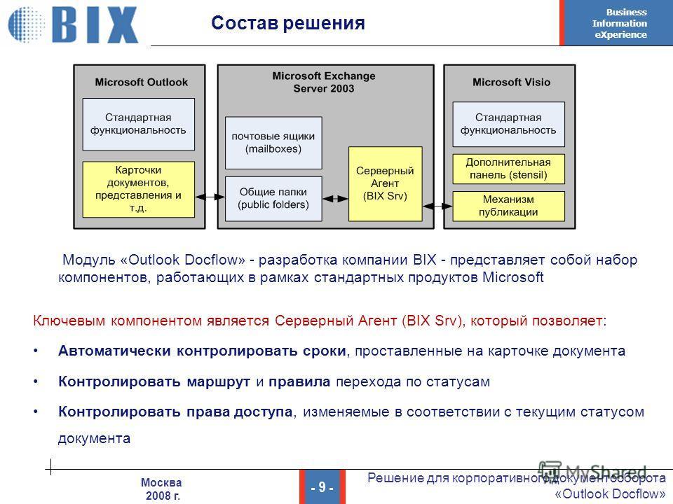 Business Information eXperience - 9 - Решение для корпоративного документооборота «Outlook Docflow» Москва 2008 г. Состав решения Модуль «Outlook Docflow» - разработка компании BIX - представляет собой набор компонентов, работающих в рамках стандартн