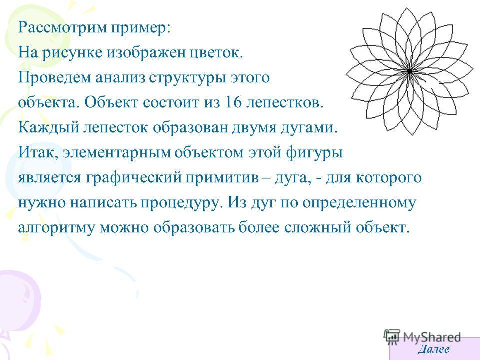 Рассмотрим пример: На рисунке изображен цветок. Проведем анализ структуры этого объекта. Объект состоит из 16 лепестков. Каждый лепесток образован двумя дугами. Итак, элементарным объектом этой фигуры является графический примитив – дуга, - для котор