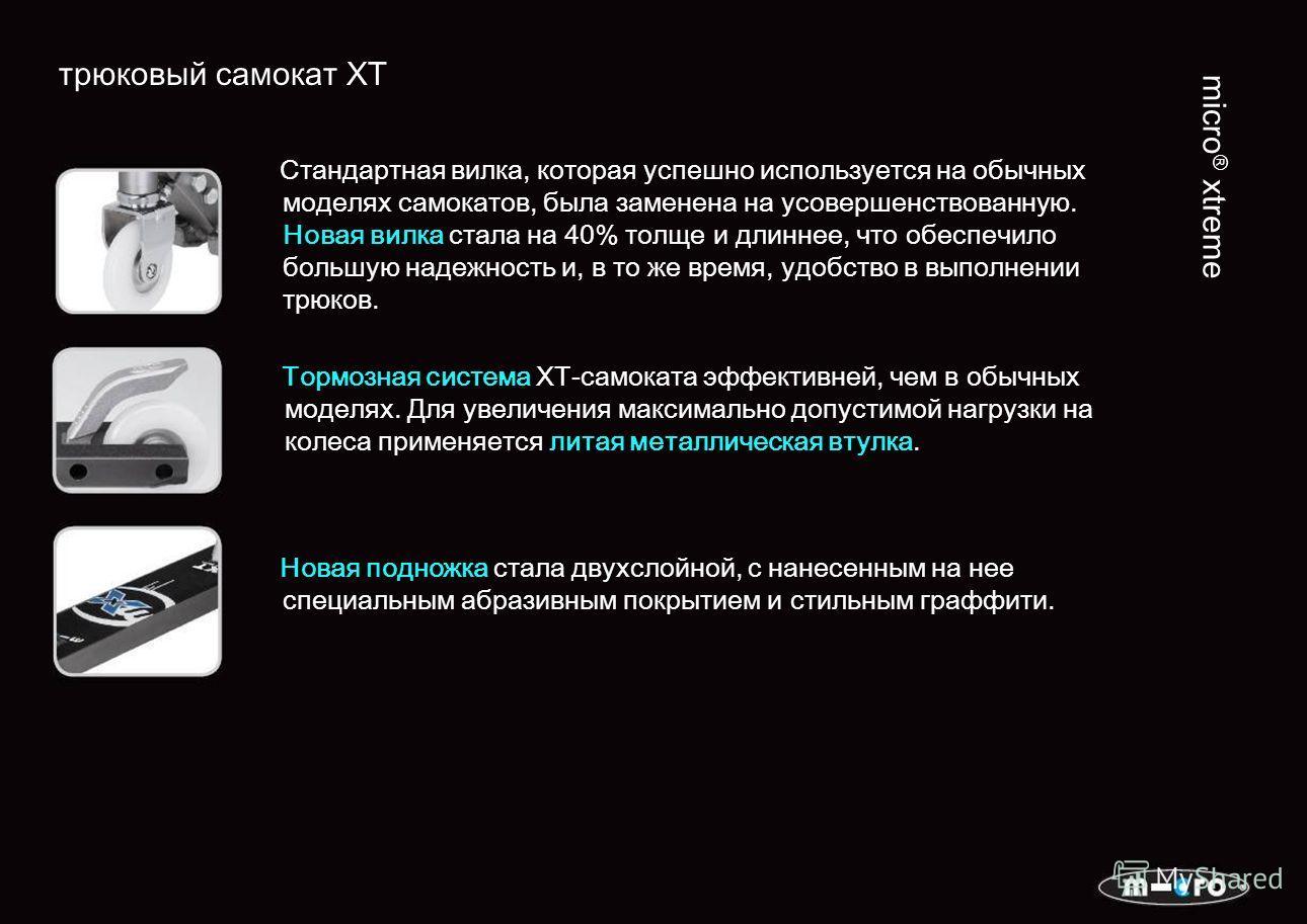трюковый самокат XT micro ® xtreme Стандартная вилка, которая успешно используется на обычных моделях самокатов, была заменена на усовершенствованную. Новая вилка стала на 40% толще и длиннее, что обеспечило большую надежность и, в то же время, удобс