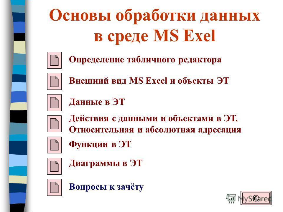 Основы обработки данных в среде MS Exel Определение табличного редактора Внешний вид MS Excel и объекты ЭТ Данные в ЭТ © Действия с данными и объектами в ЭТ. Относительная и абсолютная адресация Функции в ЭТ Диаграммы в ЭТ Вопросы к зачёту