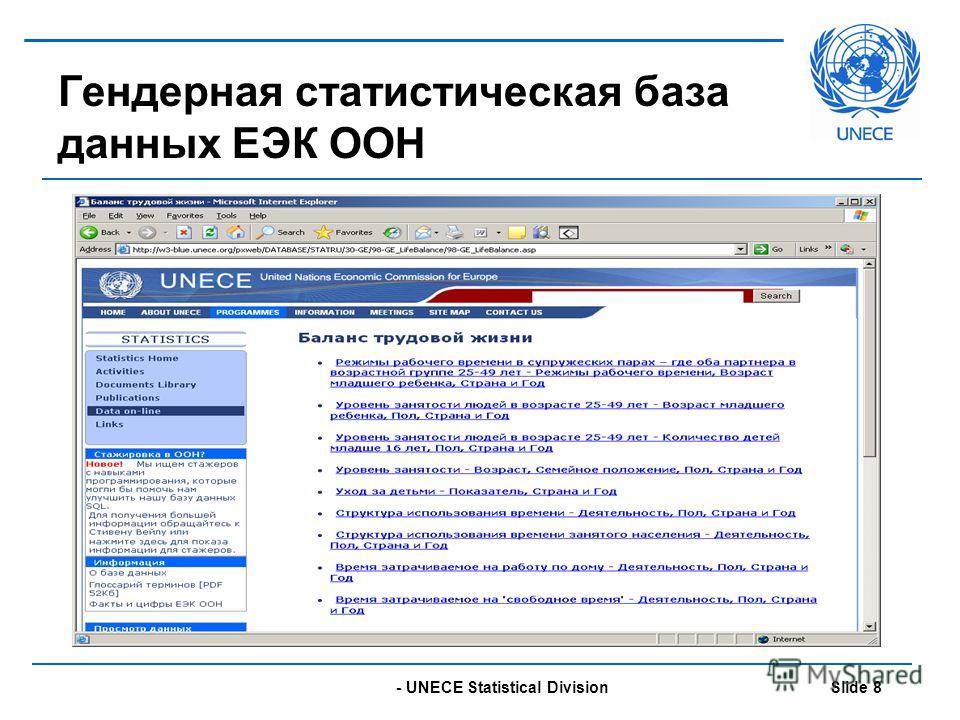 - UNECE Statistical Division Slide 8 Гендерная статистическая база данных ЕЭК ООН